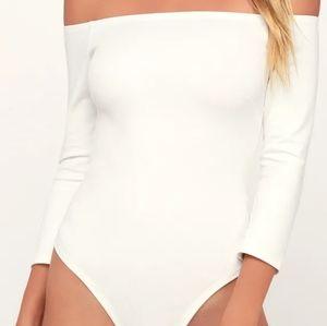 Like a Bird White Off-the-Shoulder Bodysuit